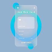 Add new card banner. Smartphone payment. Credit card. Glassmorphism style. Vector illustration. Realistic glass morphism effect with set of transparent glass plates