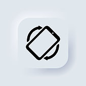 Rotate Mobile phone icon. Mobile screen rotation. Turn your device. Rotate smartphone icon. Neumorphic UI UX white user interface web button. Neumorphism. Vector