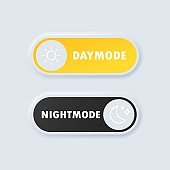 Day night switch. Day Mode and night mode switch button. Minimalist Switch Button in Neumorphism Design. Light and dark theme. On Off Switch. Neumorphic UI UX white user interface web buttons.