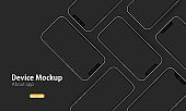 Phone mockup banner. Device mockup. Can be used for app. Vector EPS 10. Isolated on background