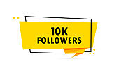 10 k followers. Origami style speech bubble banner. Sticker design template with 10 k followers text. Vector EPS 10. Isolated on white background