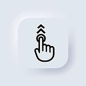 Hand cursor icon. Hand touch screen smartphone icon. Smartphone screen with clicking finger. Cursor icons vector. Neumorphic. Neumorphism. Vector illustration