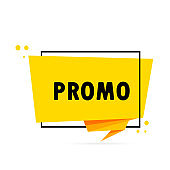 Promo. Origami style speech bubble banner. Sticker design template with promo text. Vector EPS 10. Isolated on white background.