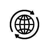 Internet icon. World international earth globe icon. Round globe with 2 sync arrows around icon. Globe symbol silhouette. World icons