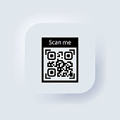 QR code for smartphone icon. Qr code for payment. Inscription scan me with smartphone icon. Neumorphic UI UX white user interface web button. Neumorphism. Vector EPS 10