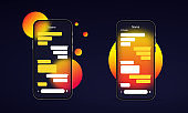 Glassmorphism style. Phone icon. Chat window. Message, conversation concept. Realistic glass morphism effect with set of transparent glass plates. Vector illustration