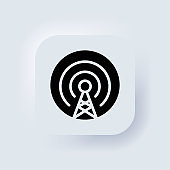 Cell phone tower icon. Antenna icon vector. Wireless. Mobile connection line. Signal sign. Broadcast, transmitter antenna. Neumorphic UI UX white user interface web button. Neumorphism. Vector EPS 10