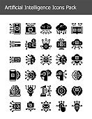 set of artificial intelligence technology icons pack glyph solid
