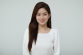Beautiful Asian young women smile with clean and clear skin,happiness with natural skin,Beauty and Cosmetics Concept