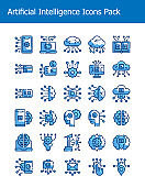 set of artificial intelligence technology icons pack two tone