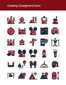 filled outline camping gear campground icons pack
