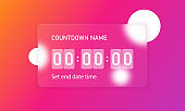 Glassmorphism style. Countdown timer counter icon. Remaining countdown concept. Realistic glass morphism effect with set of transparent glass plates. Vector illustration