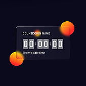 Glassmorphism style. Countdown timer counter icon. Remaining countdown. Realistic glass morphism effect with set of transparent glass plates. Vector illustration