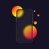 Glassmorphism style. Smart phone template. Realistic glass morphism effect with set of transparent glass plates. Vector illustration