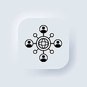 Global business community icon. Teamwork concept. Freelance. Neumorphic UI UX white user interface web button. Neumorphism. Vector