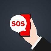 SOS message in the phone. 911 calling in flat style. Hand with a phone asks for help. First aid. Call screen smartphone. A cry for help, a SOS signal. Vector EPS 10