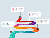 abstract way timeline infographics 4 steps template