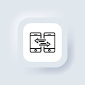 Synchronization icon. Vector. Data synchronization between two smartphone. Sync, transfer concept. Neumorphic UI UX white user interface web button. Neumorphism. Vector illustration