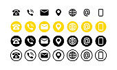Contact us icon set. Communication symbol for your web site design, logo, app. Mail, phone, globe, address, com, email. Neumorphic UI UX white user interface web button. Neumorphism. Vector EPS 10