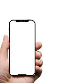 Smart phone in left hand with white screen. Clipping path for hand and phone. Isolated on white background.