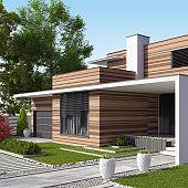 Modern Luxurious Villa with garden. Real estate concept.