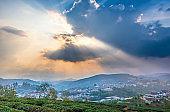Small village in a tea hill valley on sunset sky in Da Lat, Vietnam