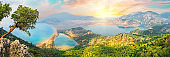 Dalyan river and Iztuzu turtle beach in Aegean mine under dramatic skies