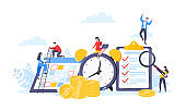Time is money or saving money business concept. Tiny people working with clock, calendar schedule and checklist symbol.