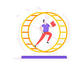 Rat race business concept with businessman running in hamster wheel working hard and always busy.