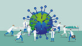 Medical staff teamwork of doctor and nurse work hard to fight epidemic virus-infected earth. Concept of prevention, research, immunization, inject vaccine syringe, protection patient, heal the world