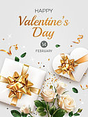 Vertical Valentine's Day greeting card template with text. Illustration with white Roses, gifts, heart and tinsel isolated on light gray background.