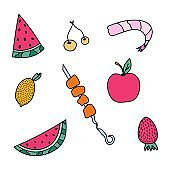 Icon set of summer fruits, berries and other food