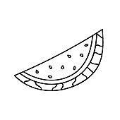 Hand drawn doodle summer watermelon