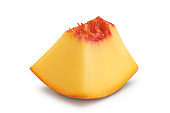 Ripe peach fruit piece isolated on white background with clipping path and full depth of field