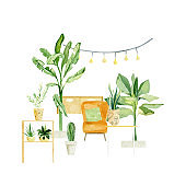 Watercolor house plants in pots composition. Garden trendy greenery home potted tropical tree. Palm tree and decor home. Indoor gardening lady plant stiker, poster, greeting card.
