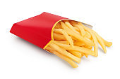 French fries or fried potatoes in a red carton box isolated on white background with clipping path and full depth of field