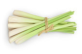 Fresh Lemongrass isolated on white background with clipping path and full depth of field, Top view. Flat lay