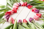 Heart shape made of spring tulip flowers, copy space inside