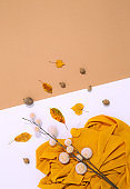 Fall Winter background. Autumn brunch decor, leaf and fabric. Trendy brown yelow colors shades.  Aesthetic seasonal minimal wallpaper