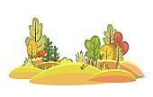 Flat autumn forest. Beautiful landscape with trees. Illustration in a simple symbolic style. A funny scene. Comic cartoon design. Country wild plants. Visolated ector
