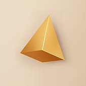 3d gold pyramid, render geometric shape with shadows isolated on background. Golden glossy realistic primitive. Abstract decorative vector figure for trendy design