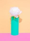 Decor white flowers in vase. Minimalist scene. Bloom, Spring,summer, greeting card, invitation concept.  Still life