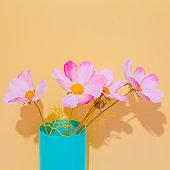 Decor flowers in vase. Still life minimalist scene. Bloom, Spring,summer, greeting card, invitation concept.