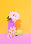 Romantic Decor flowers in vase. Minimalist scene. Bloom, Spring,summer, greeting card, invitation concept.  Still life composition