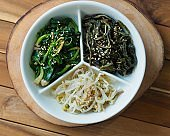 Korean food spinach, bean sprouts, herbs, side dishes