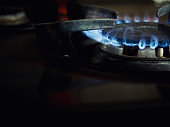 Gas stove, fire, blue, background
