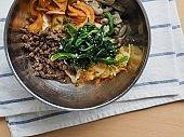 Korean food Beef and vegetable bibimbap