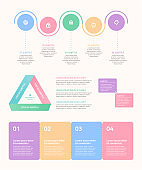 A colorful design template set that visualize Infographic elements and data.