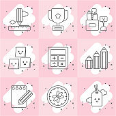Stationery icons related to learning.