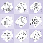 Common icons about chemistry and science.